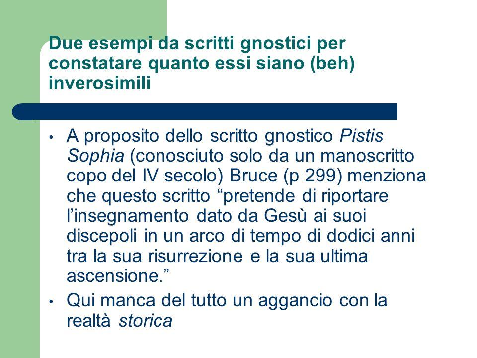 Due esempi da scritti gnostici per constatare quanto essi siano (beh) inverosimili A proposito dello scritto gnostico Pistis Sophia (conosciuto solo d