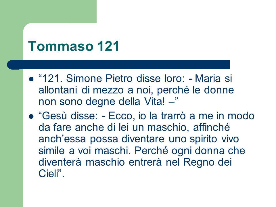 Tommaso 121 121. Simone Pietro disse loro: - Maria si allontani di mezzo a noi, perché le donne non sono degne della Vita! – Gesù disse: - Ecco, io la