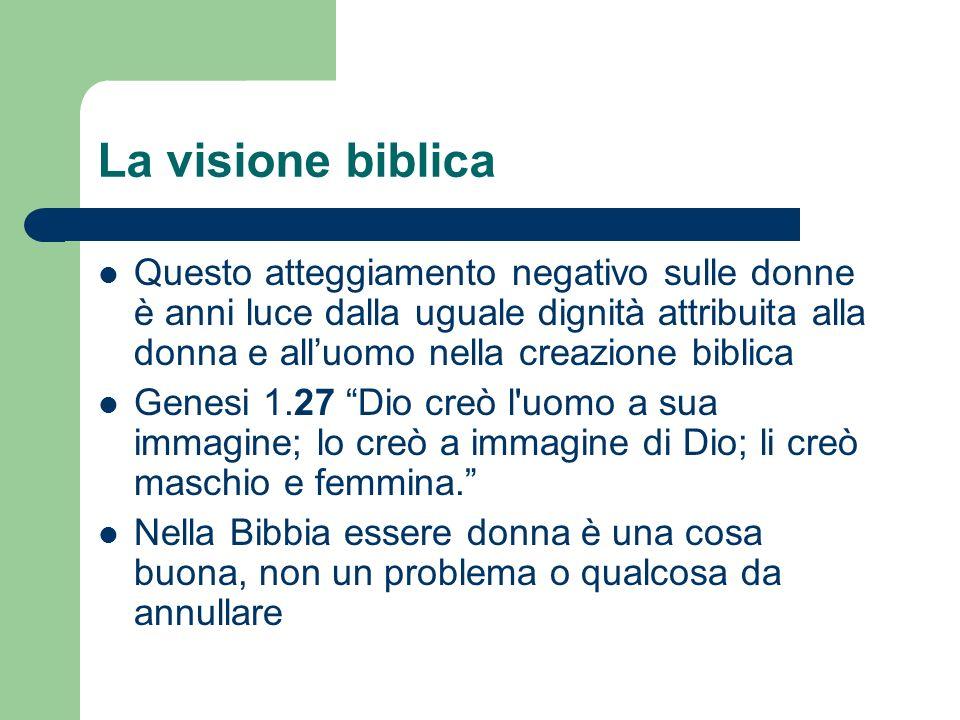 La visione biblica Questo atteggiamento negativo sulle donne è anni luce dalla uguale dignità attribuita alla donna e alluomo nella creazione biblica