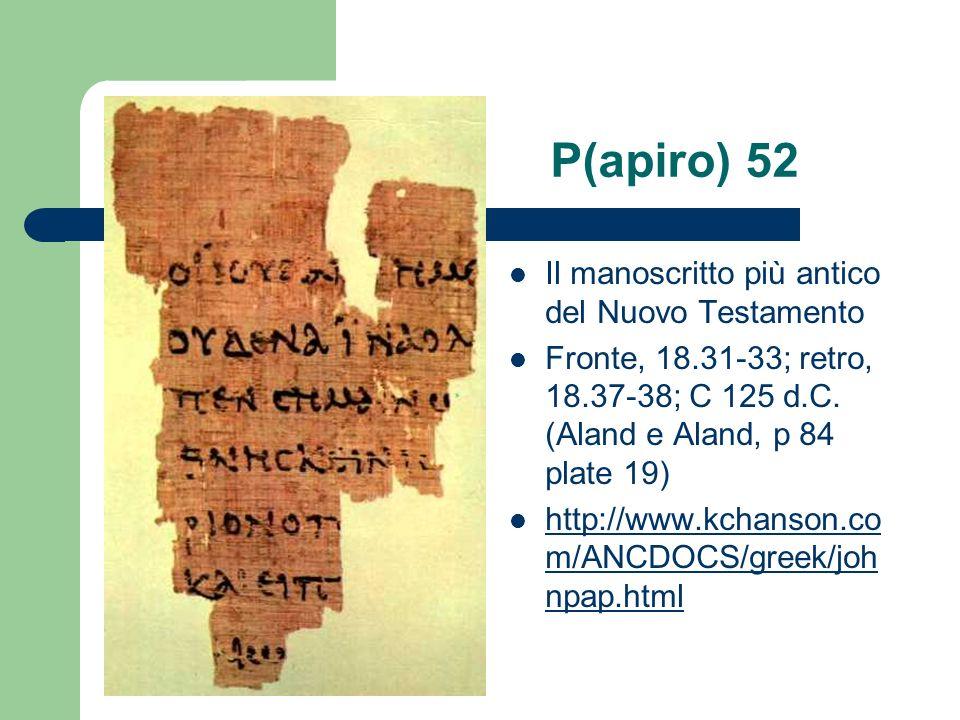 P(apiro) 52 Il manoscritto più antico del Nuovo Testamento Fronte, 18.31-33; retro, 18.37-38; C 125 d.C. (Aland e Aland, p 84 plate 19) http://www.kch