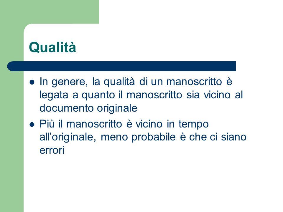 Qualità In genere, la qualità di un manoscritto è legata a quanto il manoscritto sia vicino al documento originale Più il manoscritto è vicino in temp