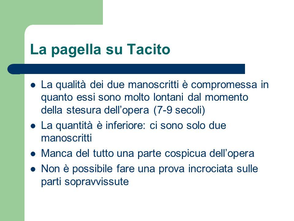 La pagella su Tacito La qualità dei due manoscritti è compromessa in quanto essi sono molto lontani dal momento della stesura dellopera (7-9 secoli) L