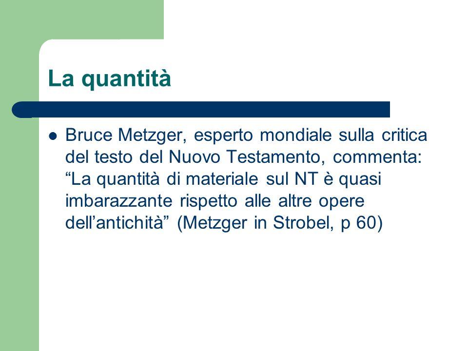 La quantità Bruce Metzger, esperto mondiale sulla critica del testo del Nuovo Testamento, commenta: La quantità di materiale sul NT è quasi imbarazzan