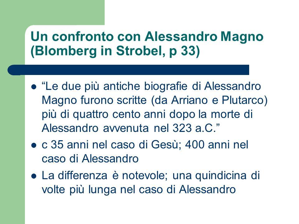 Un confronto con Alessandro Magno (Blomberg in Strobel, p 33) Le due più antiche biografie di Alessandro Magno furono scritte (da Arriano e Plutarco)
