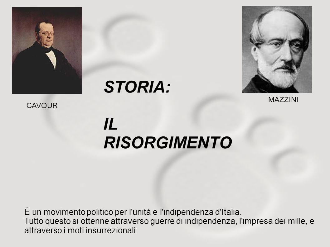 CAVOUR MAZZINI È un movimento politico per l'unità e l'indipendenza d'Italia. Tutto questo si ottenne attraverso guerre di indipendenza, l'impresa dei