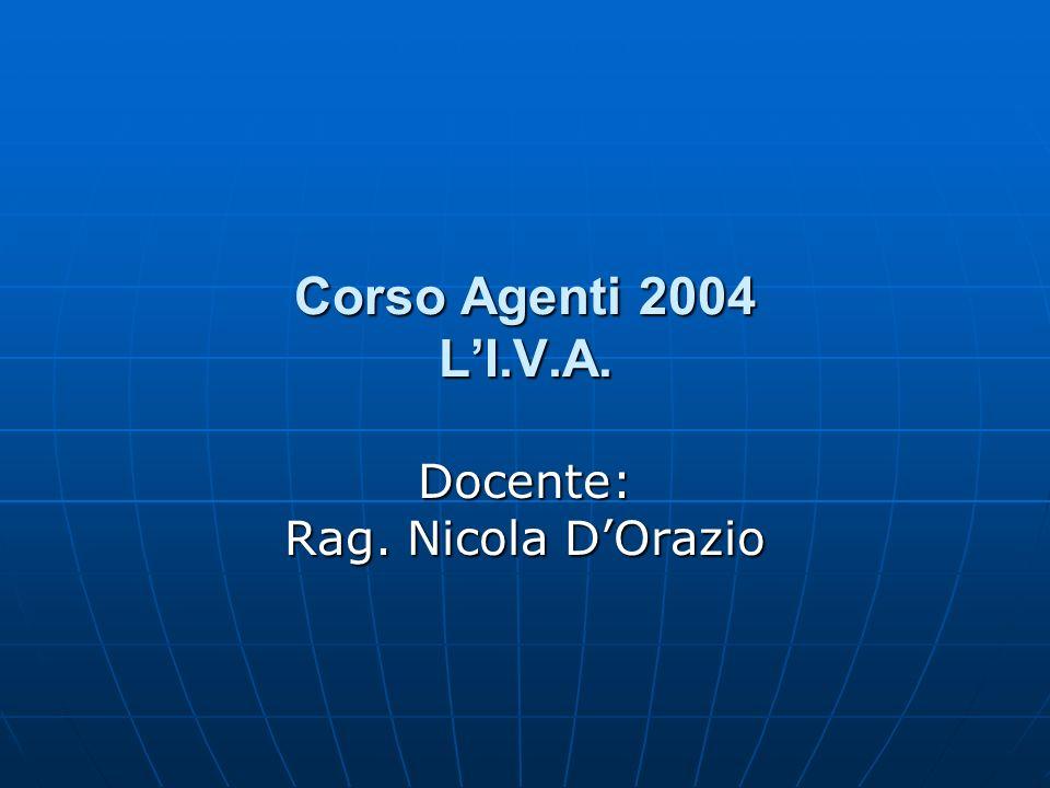 Corso Agenti 2004 LI.V.A. Docente: Rag. Nicola DOrazio