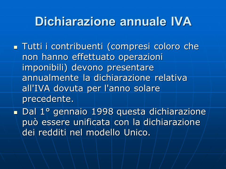 Dichiarazione annuale IVA Tutti i contribuenti (compresi coloro che non hanno effettuato operazioni imponibili) devono presentare annualmente la dichi