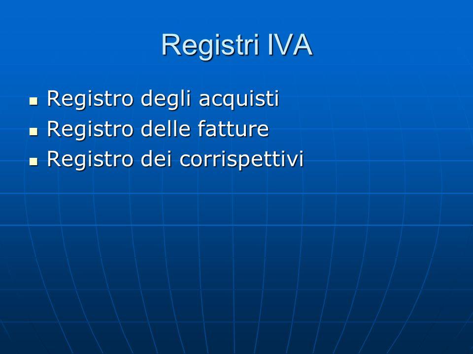 Registri IVA Registro degli acquisti Registro degli acquisti Registro delle fatture Registro delle fatture Registro dei corrispettivi Registro dei cor
