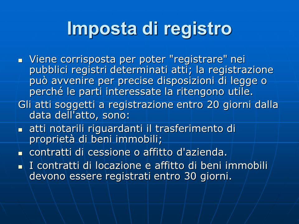 Imposta di registro Viene corrisposta per poter