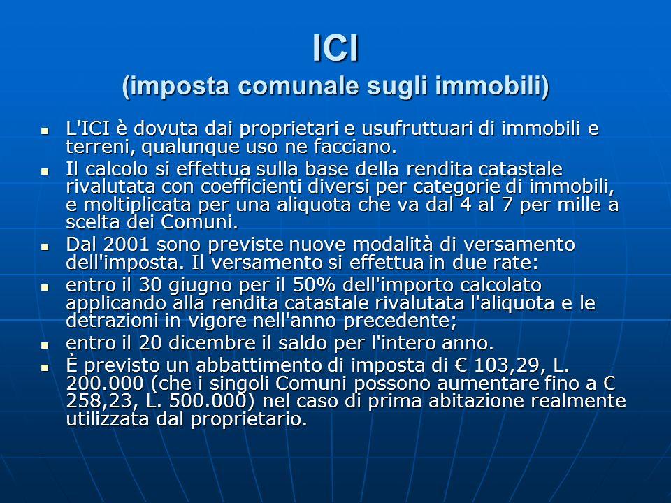 ICI (imposta comunale sugli immobili) L'ICI è dovuta dai proprietari e usufruttuari di immobili e terreni, qualunque uso ne facciano. L'ICI è dovuta d