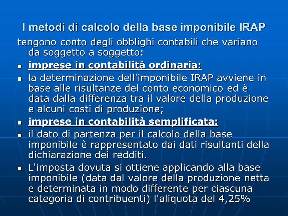 I metodi di calcolo della base imponibile IRAP tengono conto degli obblighi contabili che variano da soggetto a soggetto: imprese in contabilità ordin