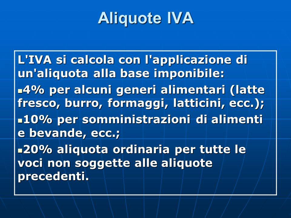 Aliquote IVA L'IVA si calcola con l'applicazione di un'aliquota alla base imponibile: 4% per alcuni generi alimentari (latte fresco, burro, formaggi,