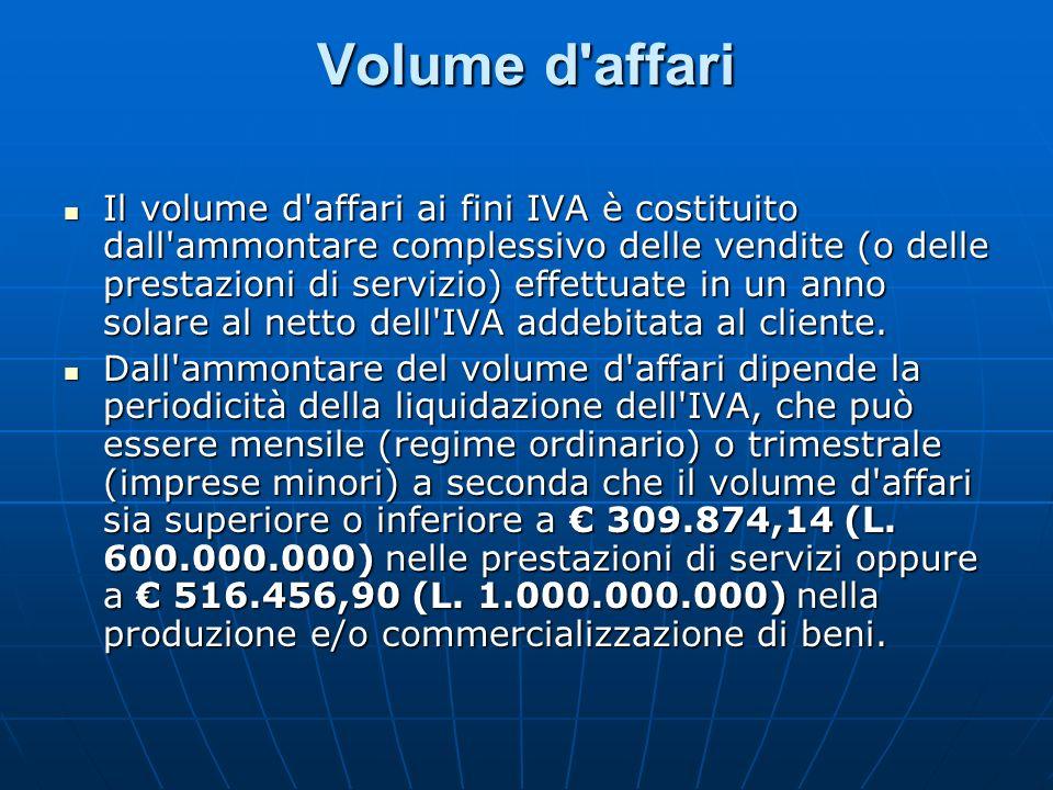 Volume d'affari Il volume d'affari ai fini IVA è costituito dall'ammontare complessivo delle vendite (o delle prestazioni di servizio) effettuate in u