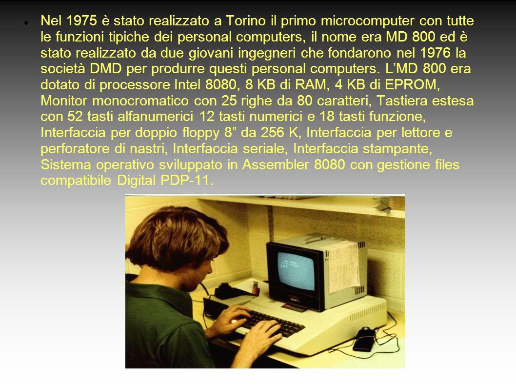 Nel 1975 è stato realizzato a Torino il primo microcomputer con tutte le funzioni tipiche dei personal computers, il nome era MD 800 ed è stato realiz