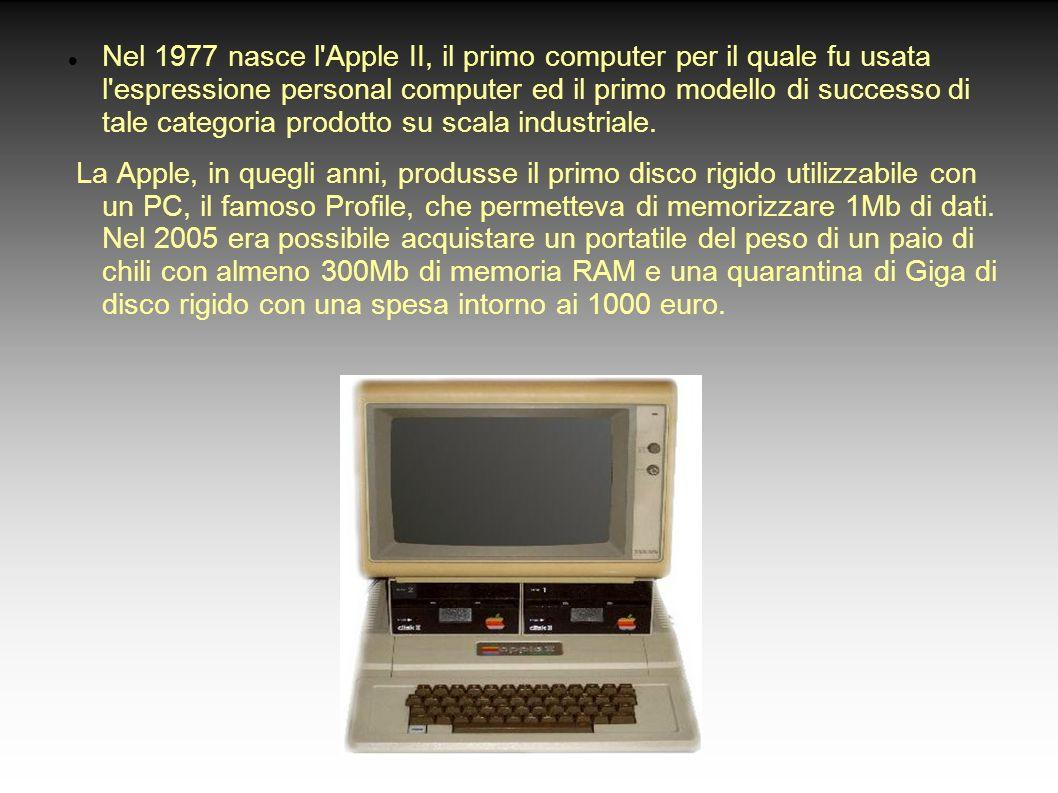 Nel 1977 nasce l'Apple II, il primo computer per il quale fu usata l'espressione personal computer ed il primo modello di successo di tale categoria p