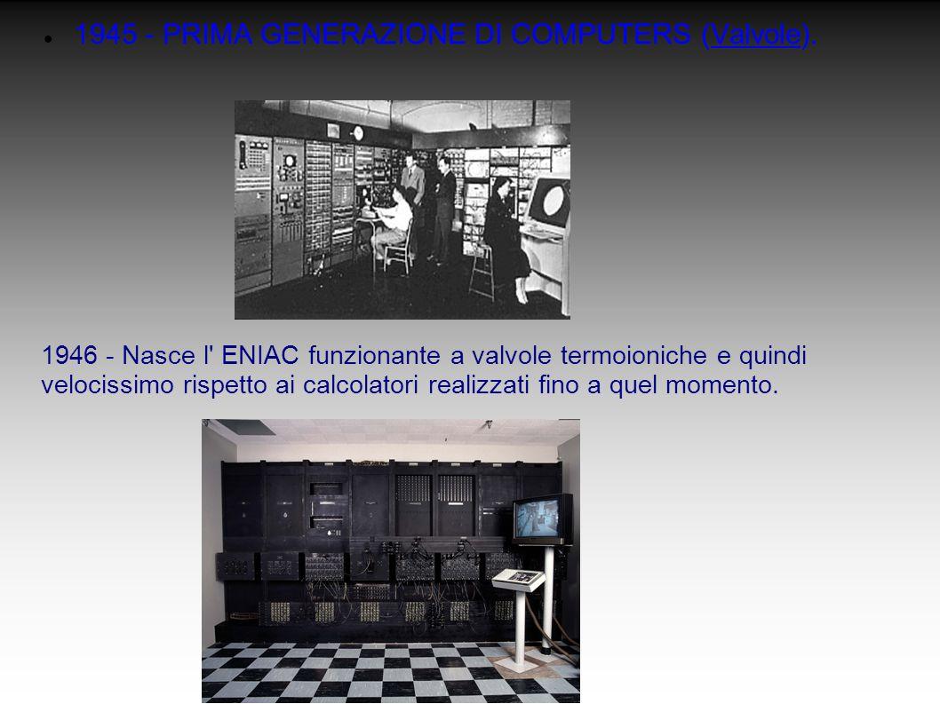 1945 - PRIMA GENERAZIONE DI COMPUTERS (Valvole). 1946 - Nasce l' ENIAC funzionante a valvole termoioniche e quindi velocissimo rispetto ai calcolatori