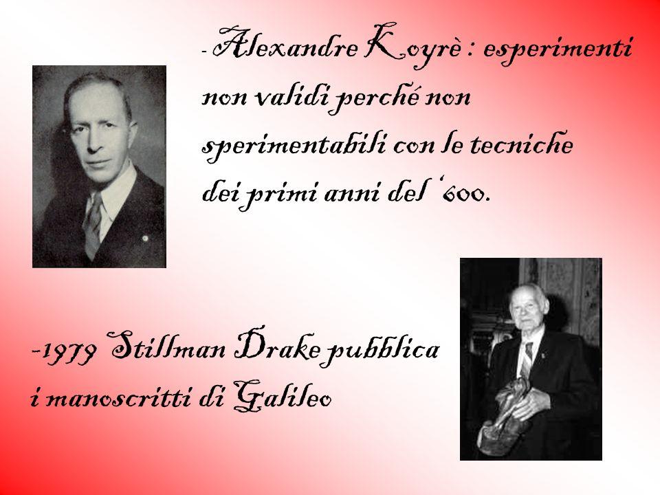 - Alexandre Koyrè : esperimenti non validi perché non sperimentabili con le tecniche dei primi anni del 600. -1979 Stillman Drake pubblica i manoscrit