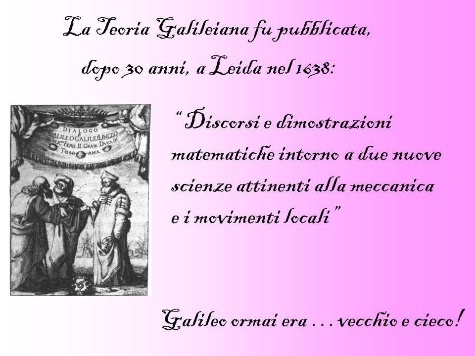 La Teoria Galileiana fu pubblicata, dopo 30 anni, a Leida nel 1638: Discorsi e dimostrazioni matematiche intorno a due nuove scienze attinenti alla me