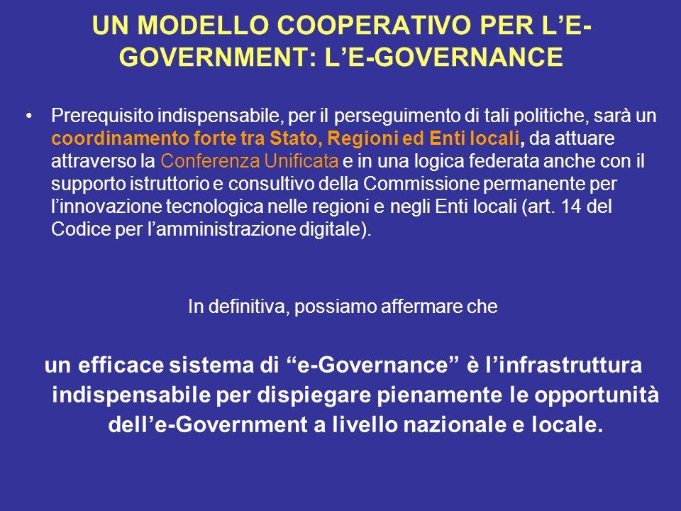 UN MODELLO COOPERATIVO PER LE- GOVERNMENT: LE-GOVERNANCE Prerequisito indispensabile, per il perseguimento di tali politiche, sarà un coordinamento fo