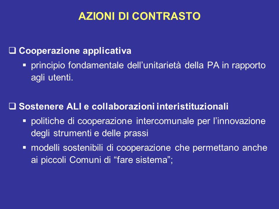 AZIONI DI CONTRASTO Cooperazione applicativa principio fondamentale dellunitarietà della PA in rapporto agli utenti. Sostenere ALI e collaborazioni in