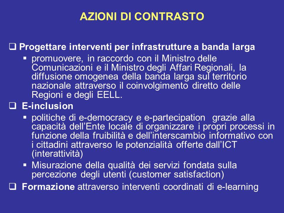 AZIONI DI CONTRASTO Progettare interventi per infrastrutture a banda larga promuovere, in raccordo con il Ministro delle Comunicazioni e il Ministro d