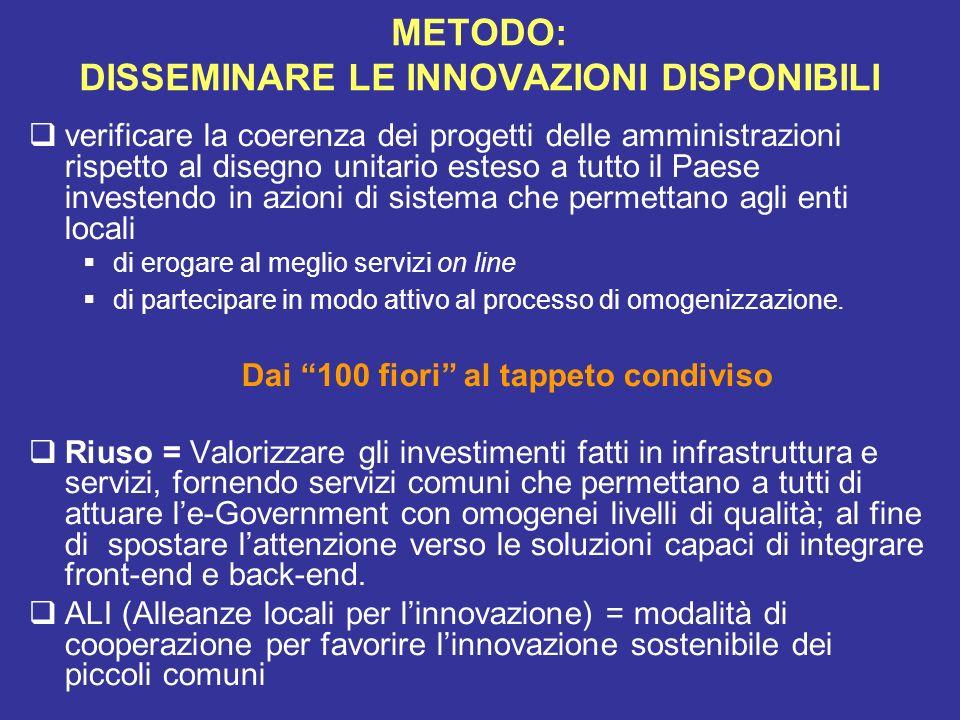 METODO: DISSEMINARE LE INNOVAZIONI DISPONIBILI verificare la coerenza dei progetti delle amministrazioni rispetto al disegno unitario esteso a tutto i
