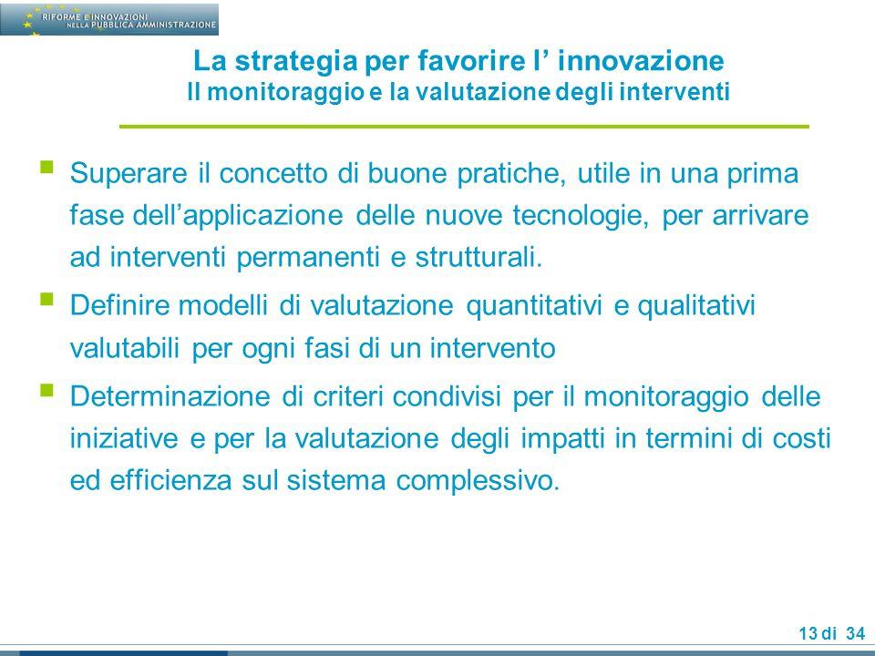 13 di 34 La strategia per favorire l innovazione Il monitoraggio e la valutazione degli interventi Superare il concetto di buone pratiche, utile in una prima fase dellapplicazione delle nuove tecnologie, per arrivare ad interventi permanenti e strutturali.