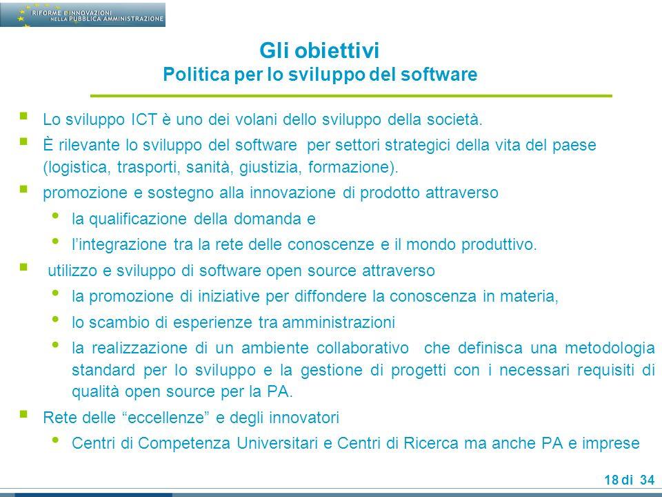 18 di 34 Gli obiettivi Politica per lo sviluppo del software Lo sviluppo ICT è uno dei volani dello sviluppo della società.