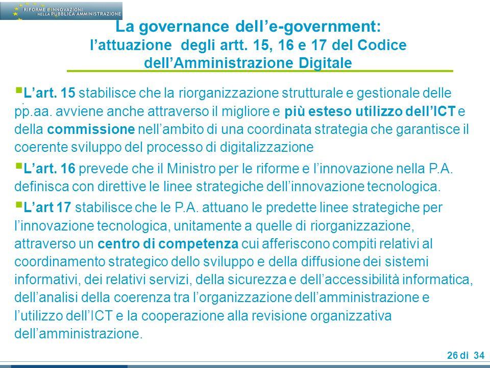 26 di 34 La governance delle-government: lattuazione degli artt.