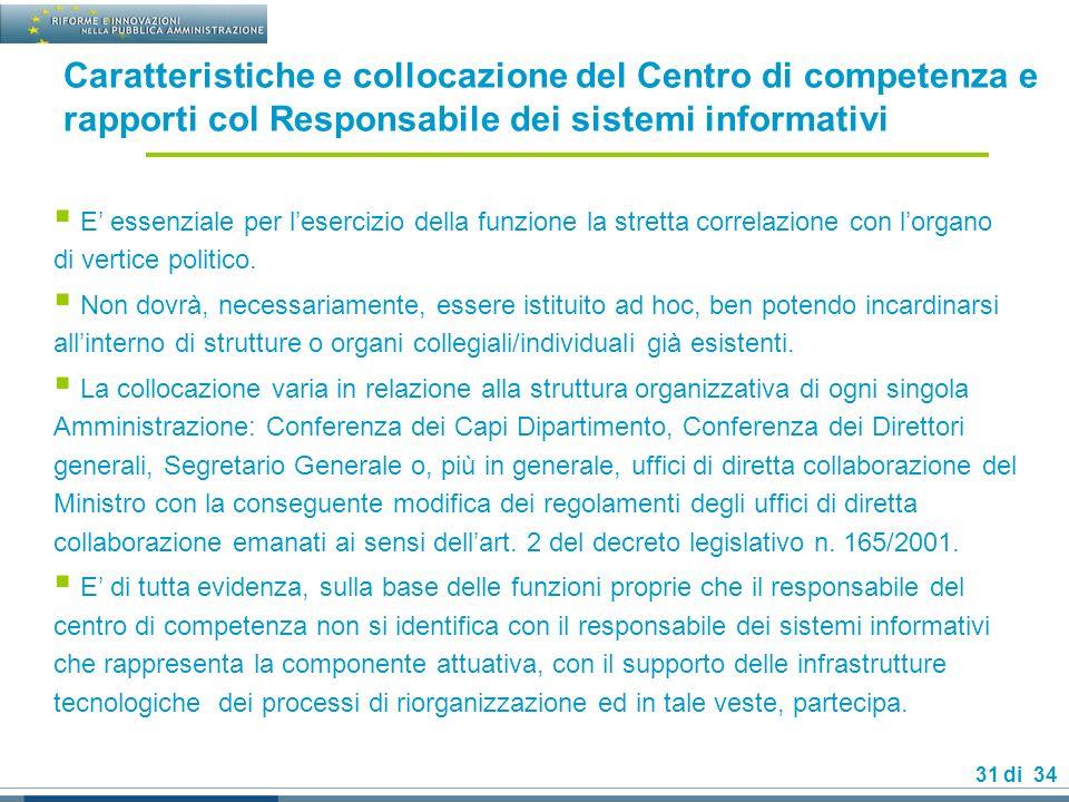 31 di 34 Caratteristiche e collocazione del Centro di competenza e rapporti col Responsabile dei sistemi informativi E essenziale per lesercizio della funzione la stretta correlazione con lorgano di vertice politico.