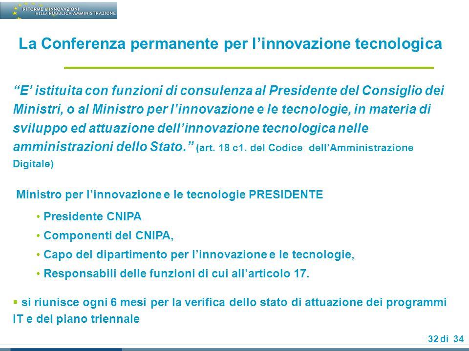32 di 34 La Conferenza permanente per linnovazione tecnologica E istituita con funzioni di consulenza al Presidente del Consiglio dei Ministri, o al Ministro per linnovazione e le tecnologie, in materia di sviluppo ed attuazione dellinnovazione tecnologica nelle amministrazioni dello Stato.