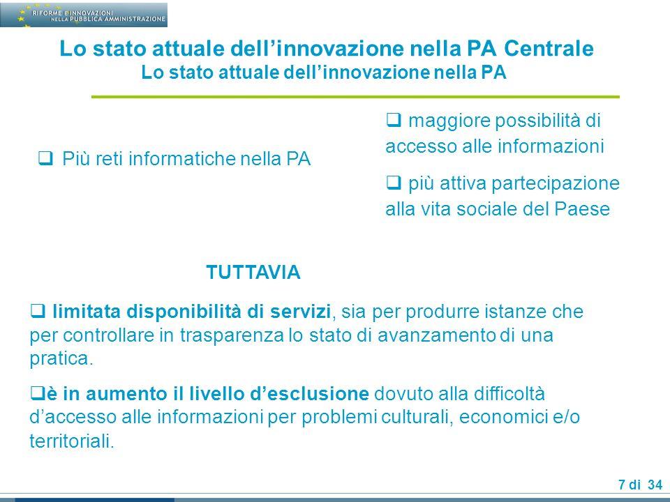 28 di 34 La governance delle-government : Il centro di competenza delle singole amministrazioni 1/2 La funzione per lorganizzazione, linnovazione e le tecnologie.