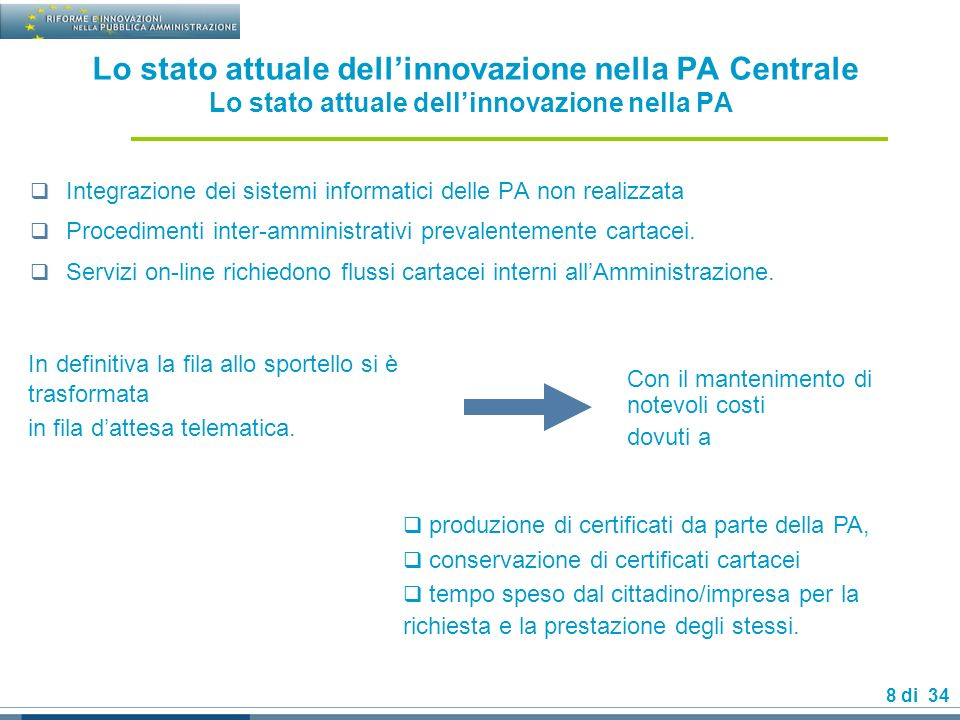 8 di 34 Lo stato attuale dellinnovazione nella PA Centrale Lo stato attuale dellinnovazione nella PA Integrazione dei sistemi informatici delle PA non realizzata Procedimenti inter-amministrativi prevalentemente cartacei.