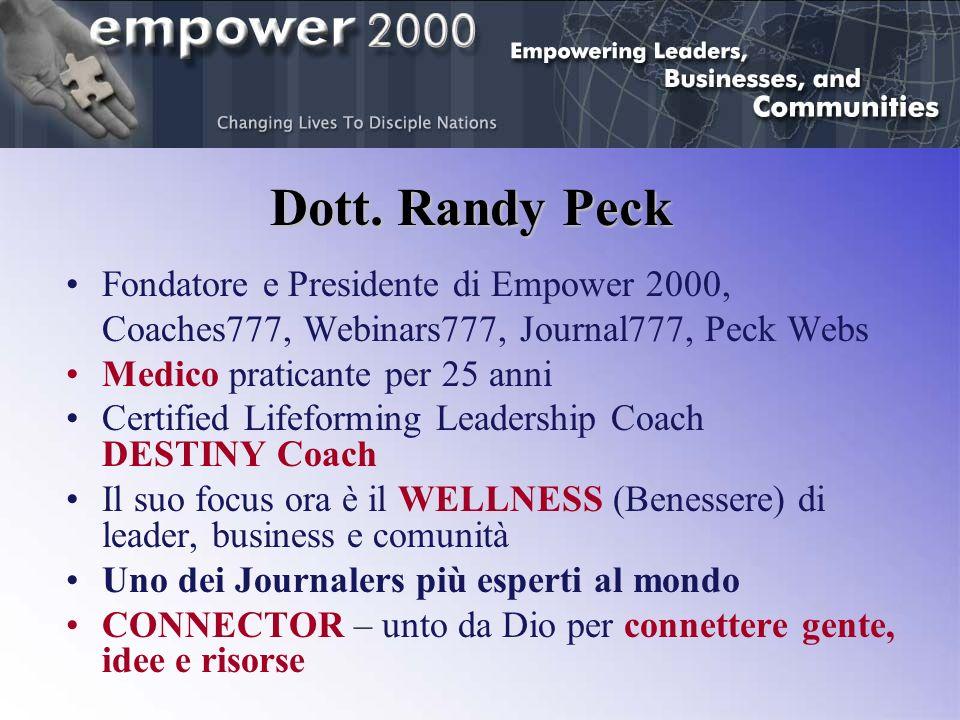Dott. Randy Peck Fondatore e Presidente di Empower 2000, Coaches777, Webinars777, Journal777, Peck Webs Medico praticante per 25 anni Certified Lifefo