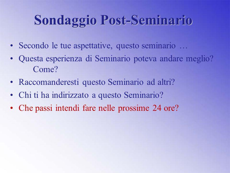 Sondaggio Post-Seminario Secondo le tue aspettative, questo seminario … Questa esperienza di Seminario poteva andare meglio.