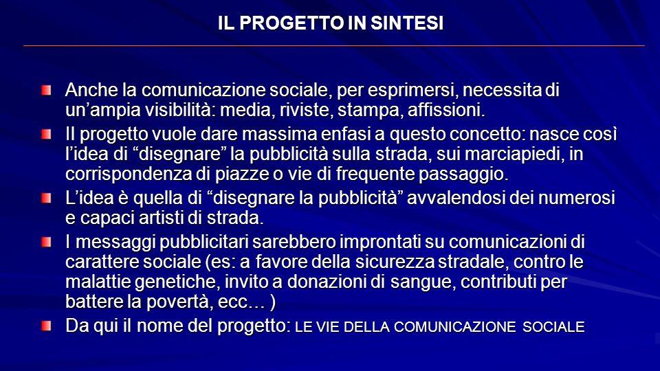 IL PROGETTO IN SINTESI Anche la comunicazione sociale, per esprimersi, necessita di unampia visibilità: media, riviste, stampa, affissioni. Il progett
