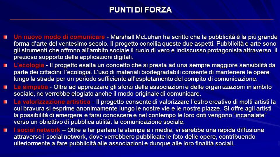 PUNTI DI FORZA Un nuovo modo di comunicare - Marshall McLuhan ha scritto che la pubblicità è la più grande forma darte del ventesimo secolo. Il proget