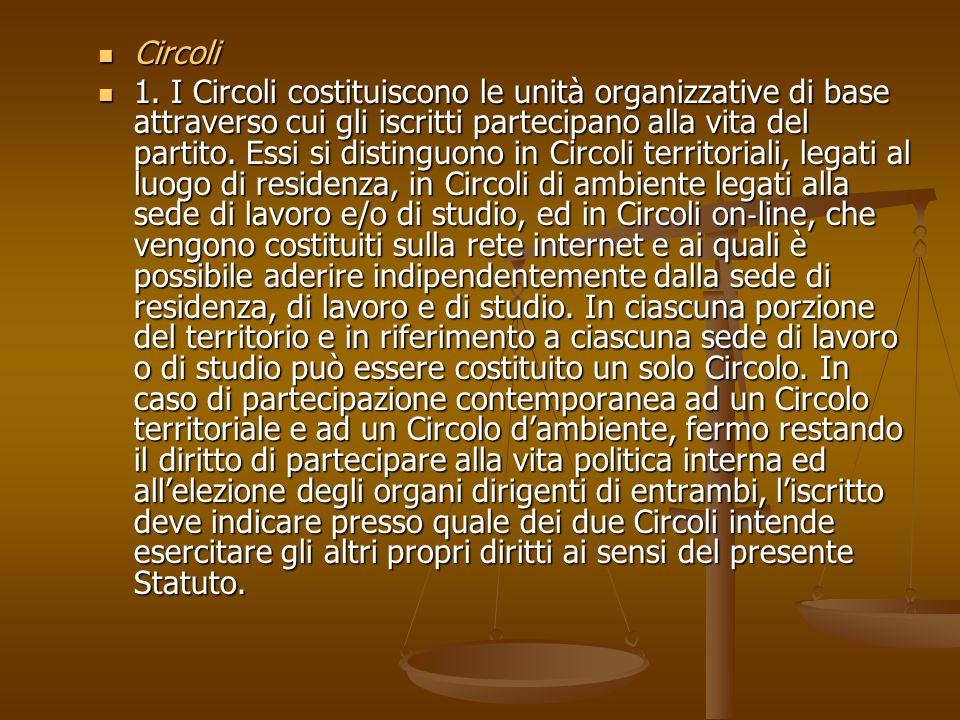 Circoli Circoli 1. I Circoli costituiscono le unità organizzative di base attraverso cui gli iscritti partecipano alla vita del partito. Essi si disti