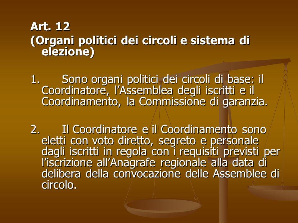 Art. 12 (Organi politici dei circoli e sistema di elezione) 1. Sono organi politici dei circoli di base: il Coordinatore, lAssemblea degli iscritti e