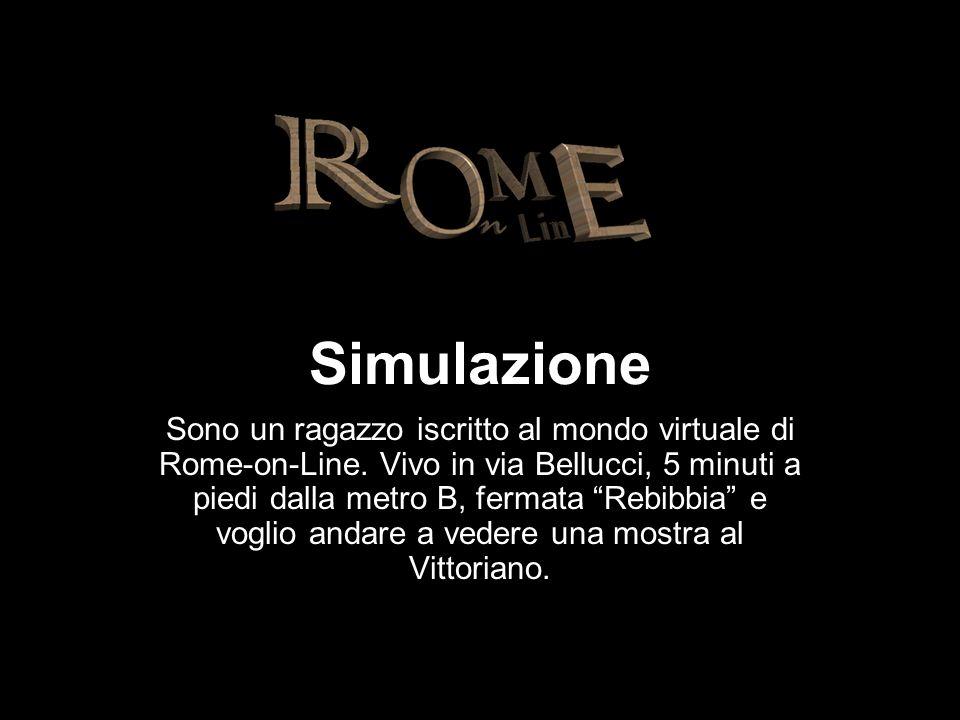 Simulazione Sono un ragazzo iscritto al mondo virtuale di Rome-on-Line. Vivo in via Bellucci, 5 minuti a piedi dalla metro B, fermata Rebibbia e vogli