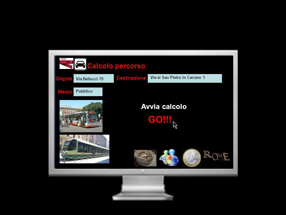 Calcolo percorso Avvia calcolo Origine Destinazione Mezzo GO!!! Via Bellucci 79 Via si San Pietro in Carcere 1 Pubblico