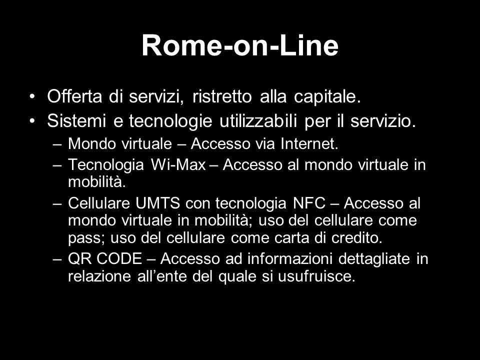Rome-on-Line Offerta di servizi, ristretto alla capitale. Sistemi e tecnologie utilizzabili per il servizio. –Mondo virtuale – Accesso via Internet. –