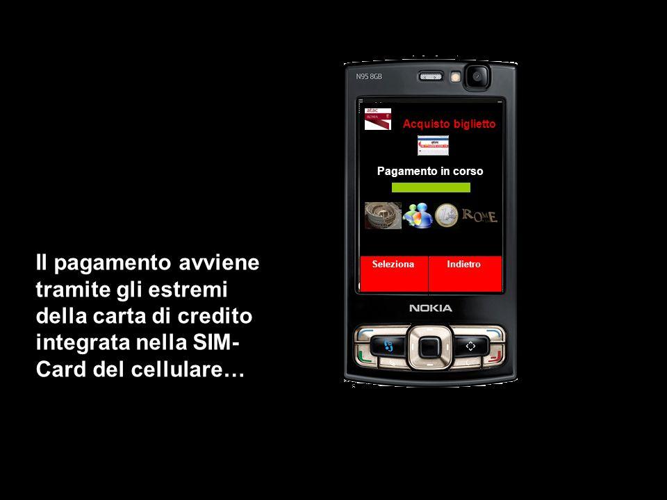Pagamento in corso Seleziona Indietro Acquisto biglietto Il pagamento avviene tramite gli estremi della carta di credito integrata nella SIM- Card del