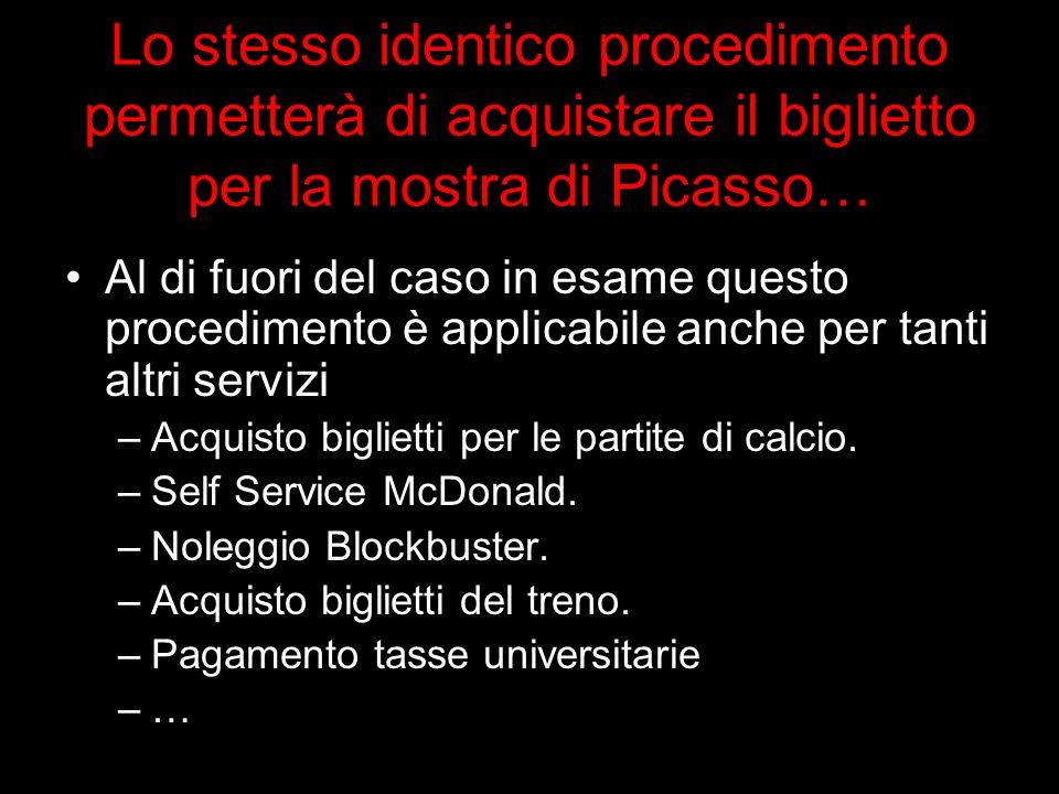 Lo stesso identico procedimento permetterà di acquistare il biglietto per la mostra di Picasso… Al di fuori del caso in esame questo procedimento è ap