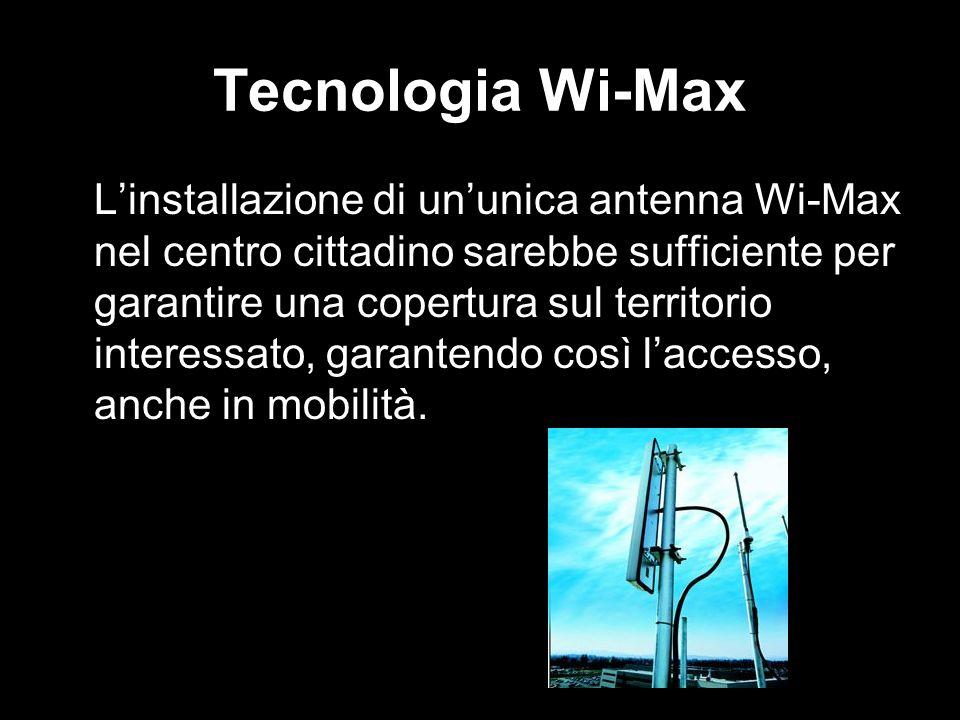 Tecnologia Wi-Max Linstallazione di ununica antenna Wi-Max nel centro cittadino sarebbe sufficiente per garantire una copertura sul territorio interes