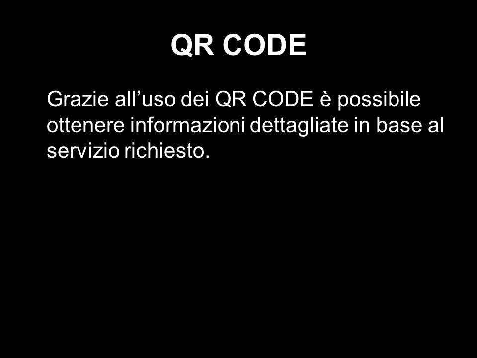 QR CODE Grazie alluso dei QR CODE è possibile ottenere informazioni dettagliate in base al servizio richiesto.