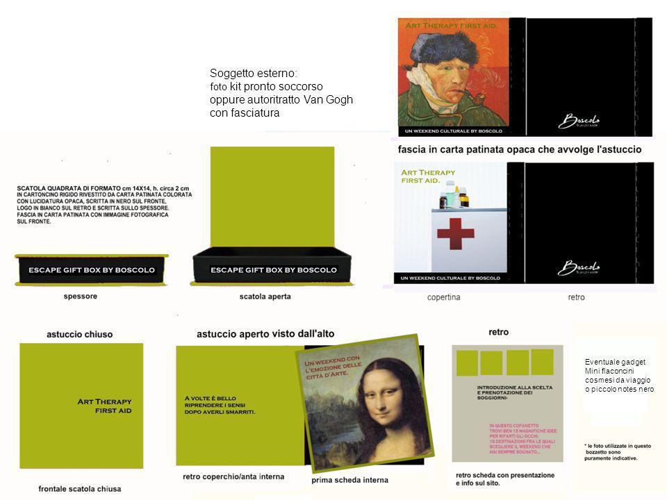 Soggetto esterno: foto kit pronto soccorso oppure autoritratto Van Gogh con fasciatura Eventuale gadget Mini flaconcini cosmesi da viaggio o piccolo notes nero