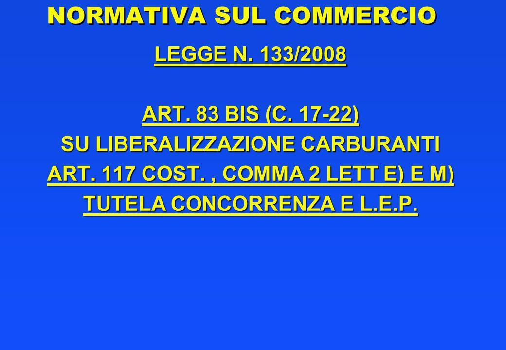 NORMATIVA SUL COMMERCIO LEGGE N. 133/2008 ART. 83 BIS (C. 17-22) SU LIBERALIZZAZIONE CARBURANTI ART. 117 COST., COMMA 2 LETT E) E M) TUTELA CONCORRENZ