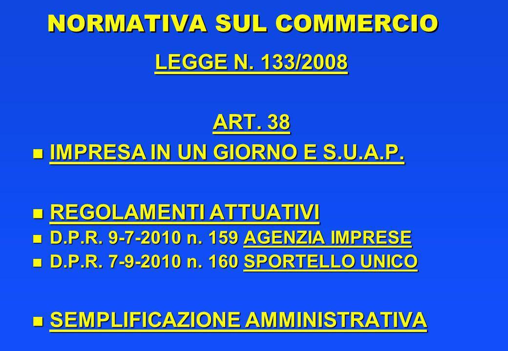 NORMATIVA SUL COMMERCIO LEGGE N.133/2008 ART. 38 n IMPRESA IN UN GIORNO E S.U.A.P.