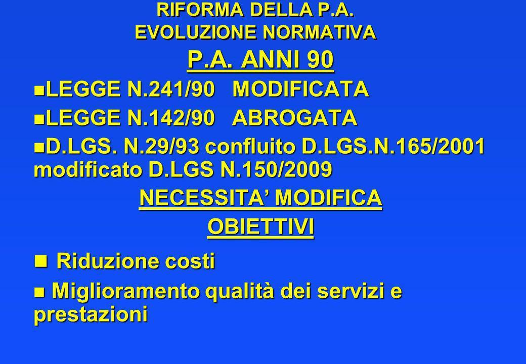 RIFORMA DELLA P.A. EVOLUZIONE NORMATIVA P.A. ANNI 90 n LEGGE N.241/90 MODIFICATA n LEGGE N.142/90 ABROGATA n D.LGS. N.29/93 confluito D.LGS.N.165/2001